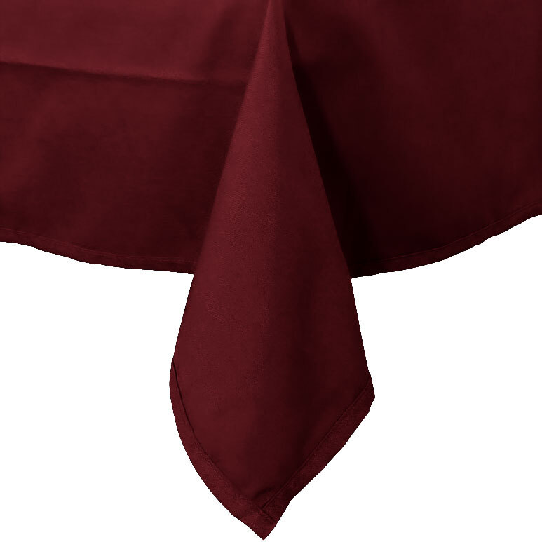 54 inch x 120 inch Burgundy 100% Polyester Hemmed Cloth Table Cover