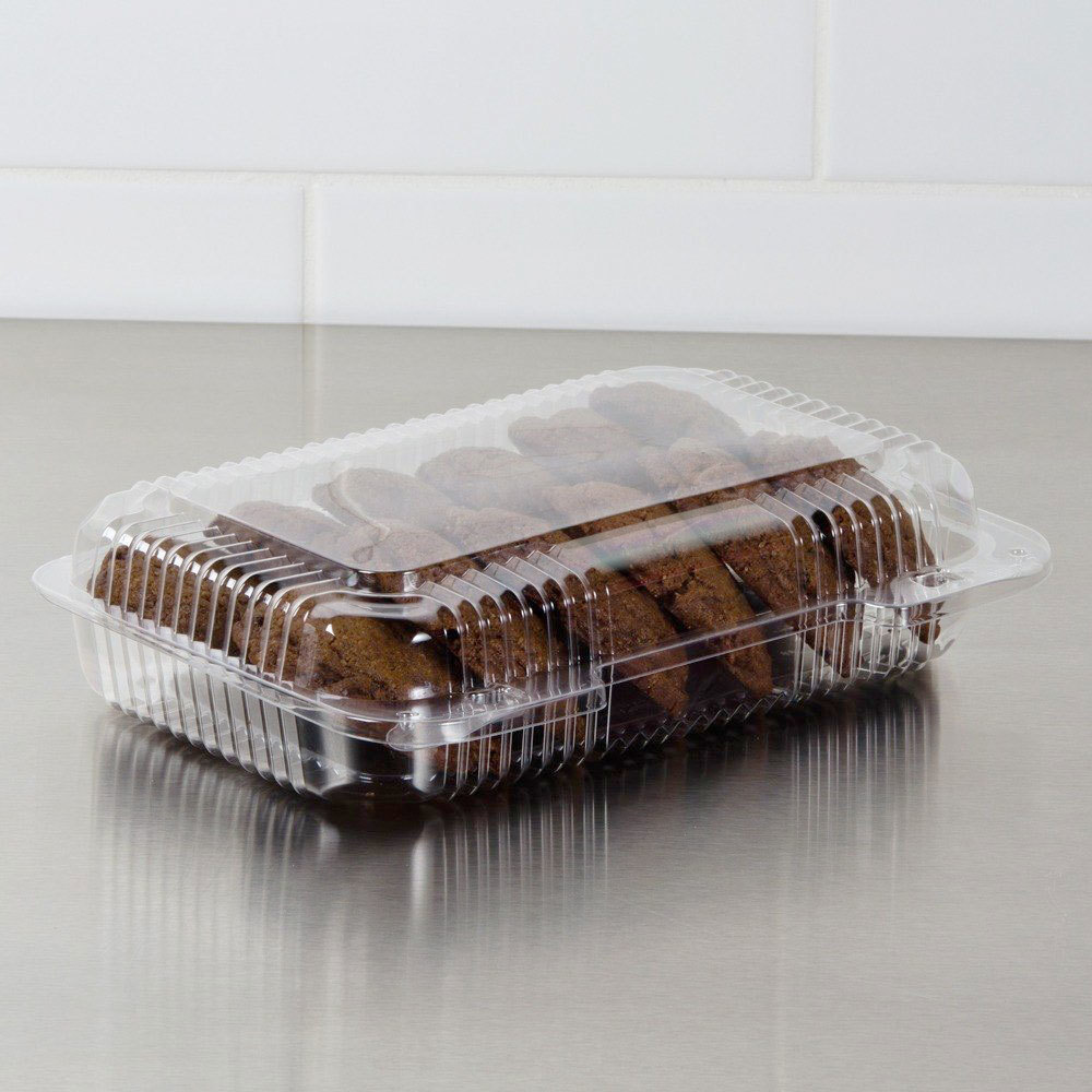 "Dart Solo PET30UT1 StayLock 9 3/8"" x 6 3/4"" x 2 1/8"" Clear Hinged PET Plastic Medium Shallow Dome Oblong Container - 250/Case"