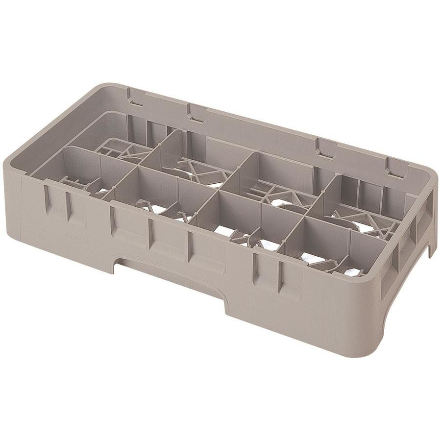 "Cambro 8HS1114184 Beige Camrack Customizable 8 Compartment 11 3/4"" Half Size Glass Rack"