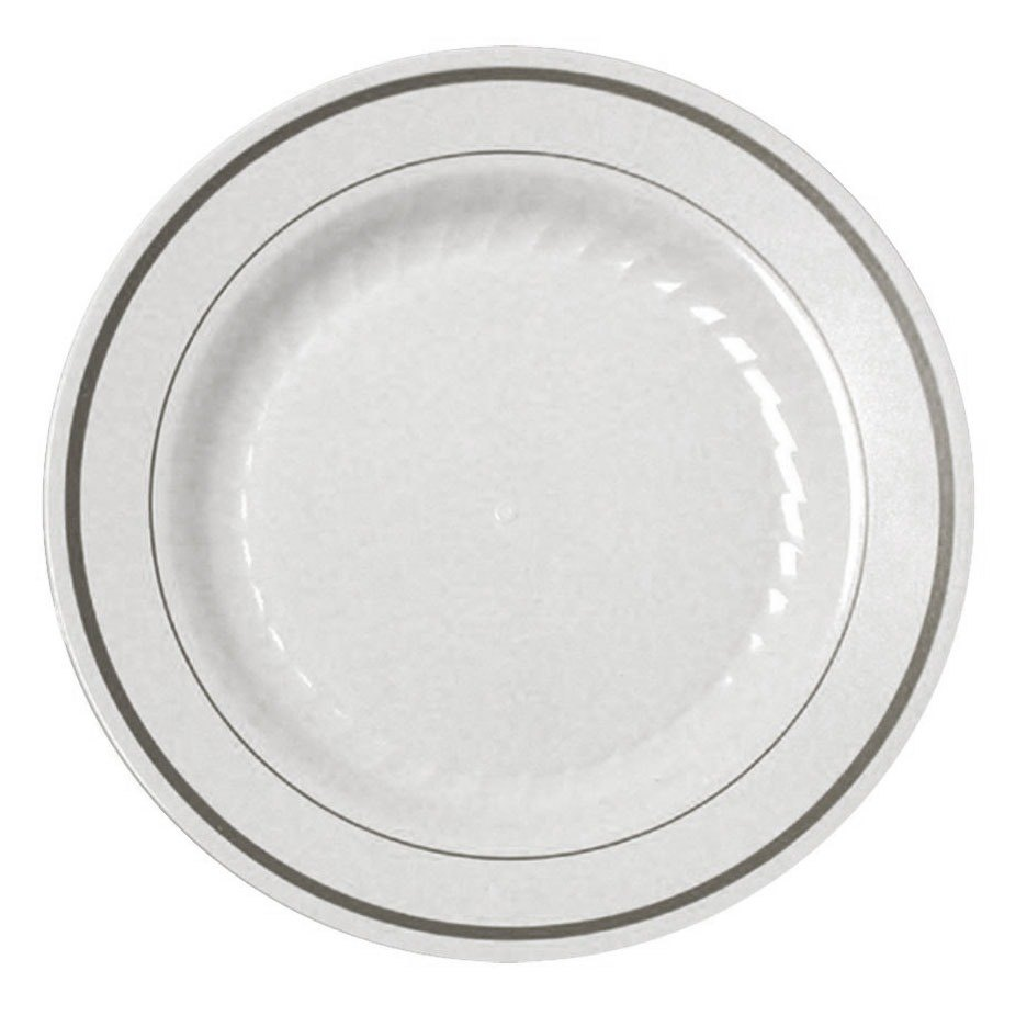 Fineline Silver Splendor 509WH White 9 inch Plastic Plate with Silver Bands - 120 / Case