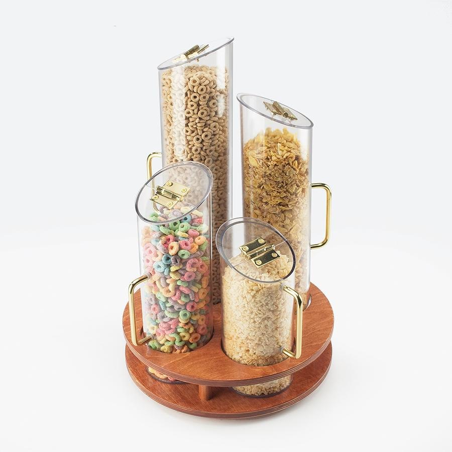 Cal Mil 723-53 4 Bin Turntable Cereal Dispenser with Wooden Base at Sears.com