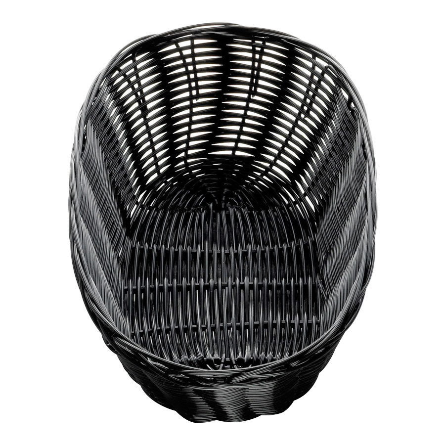 tablecraft 2476 10 x 6 1 2 x 3 black oval rattan basket 12 pack. Black Bedroom Furniture Sets. Home Design Ideas