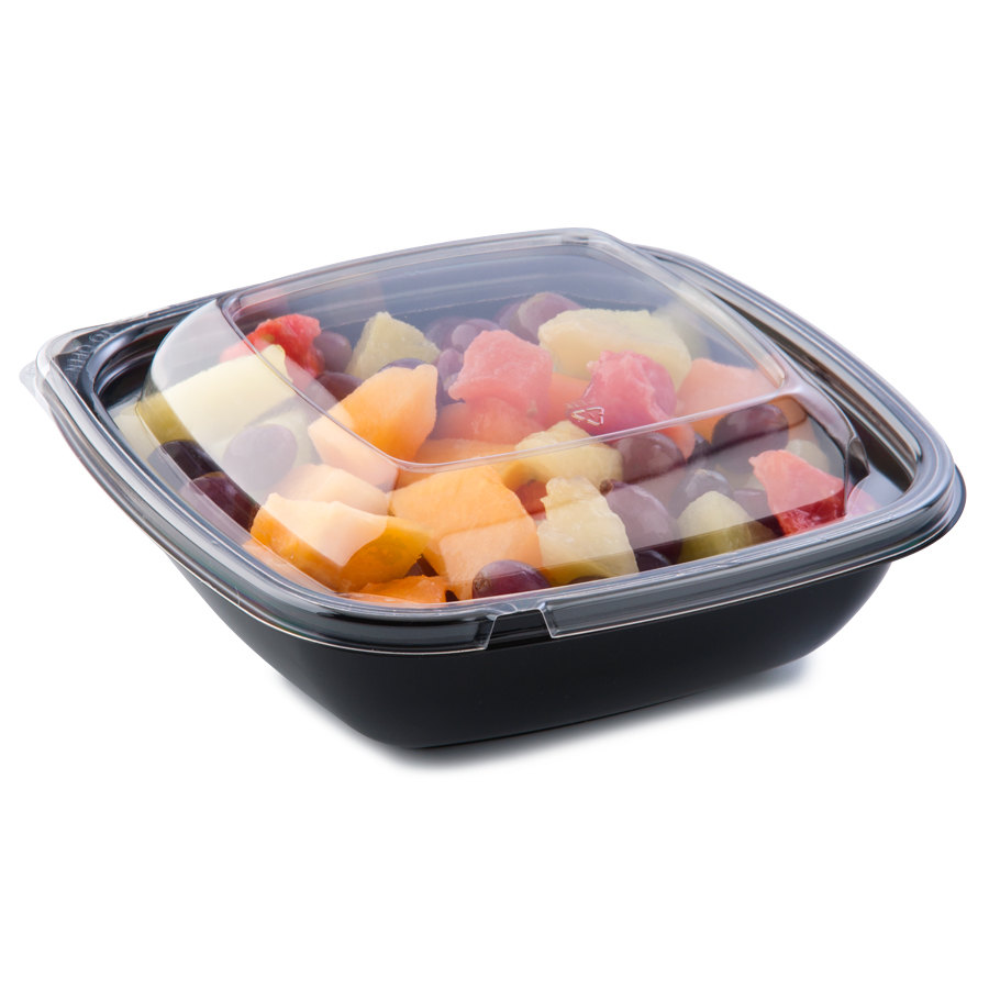 Sabert C98032TE150 32 oz. Black Square Tamper Evident Bowl with Lid - 150 / Case
