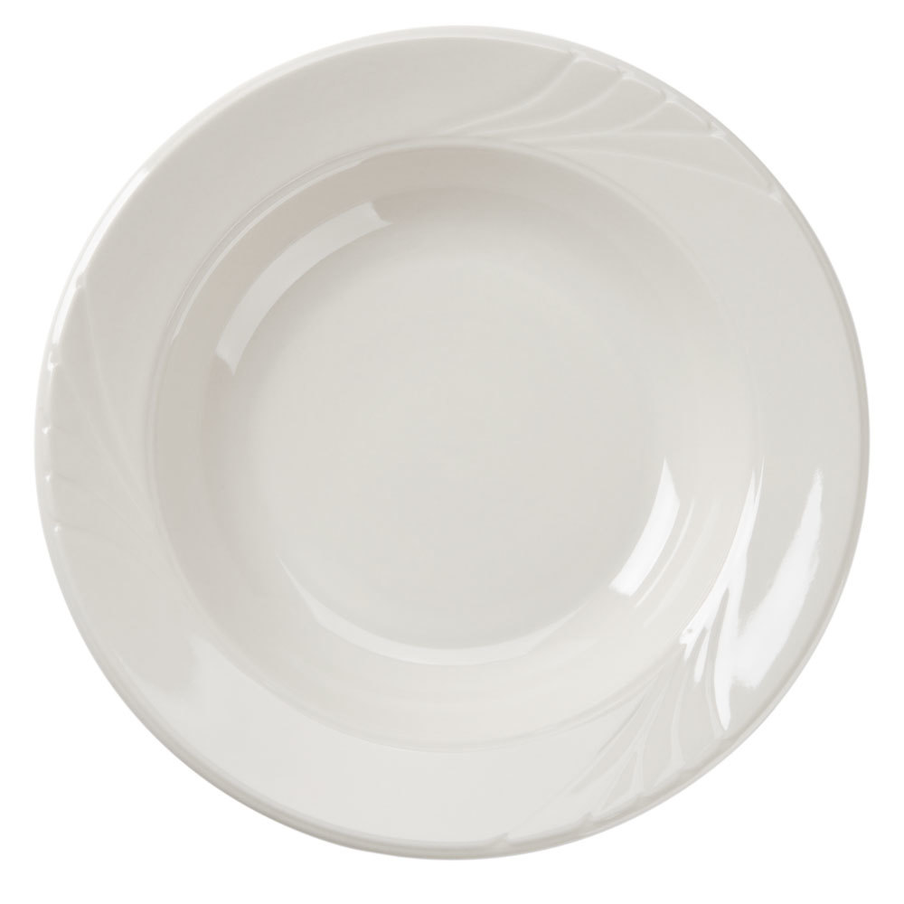 Tuxton YED-112 20oz Embossed Rim American White Monterey China Pasta Bowl 12/Case