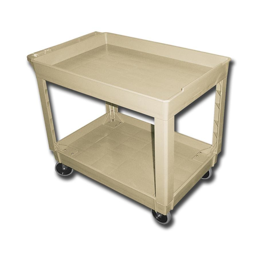 "Continental 5805BE 40"" x 25"" Beige Utility Cart with 2-Shelf Recessed Top"
