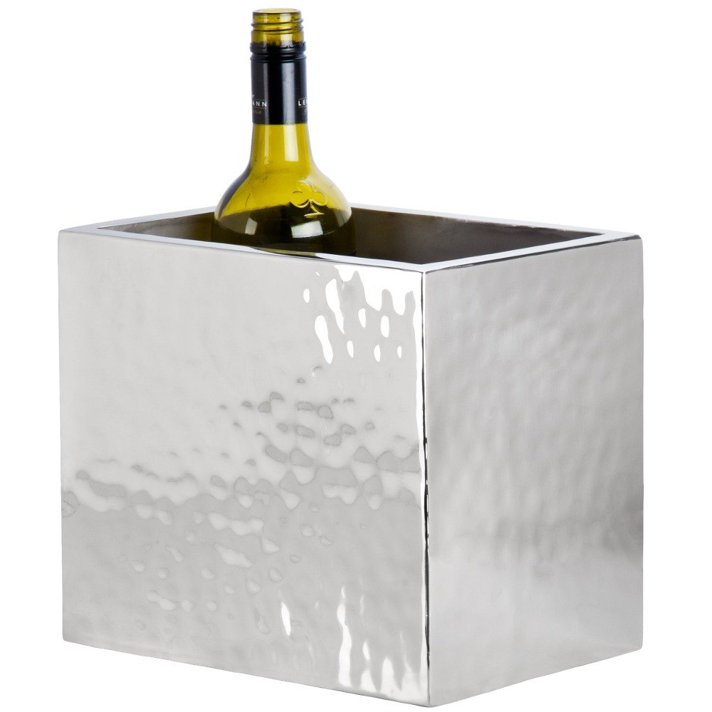 "American Metalcraft DWWC2 Rectangle Double Wall Hammered Stainless Steel Two-Bottle Chiller - 10"" x 6 3/4"" x 8 1/2"""