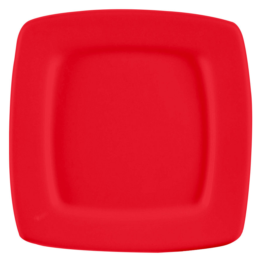 "CAC R-S8QR Clinton Color Square in Square Plate 8 7/8"" - Red 24/Case"