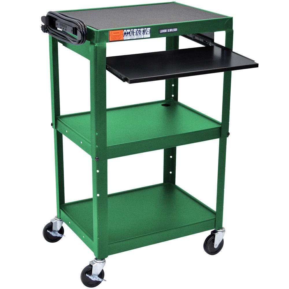 luxor avj42kb gn green mobile computer cart workstation. Black Bedroom Furniture Sets. Home Design Ideas