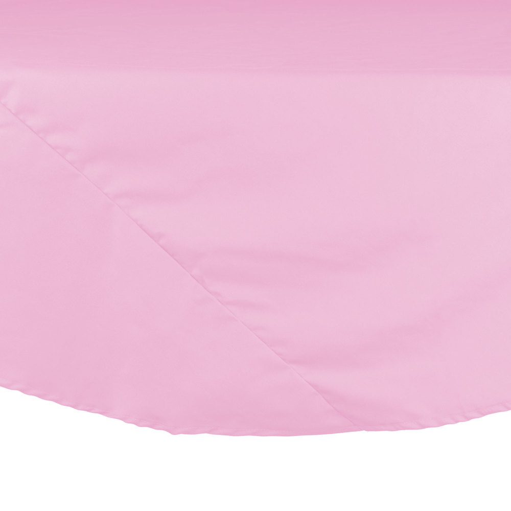 "72"" Pink Round Hemmed Polyspun Cloth Table Cover"