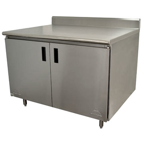 "Advance Tabco HK-SS-364M 36"" x 48"" 14 Gauge Enclosed Base Stainless Steel Work Table with Fixed Midshelf and 5"" Backsplash"