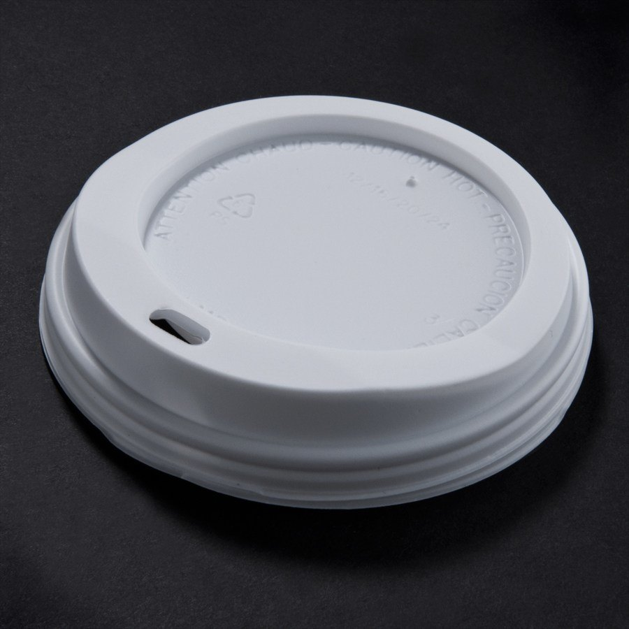 12, 16, 20 oz. White Plastic Travel Lid 1000 / Case