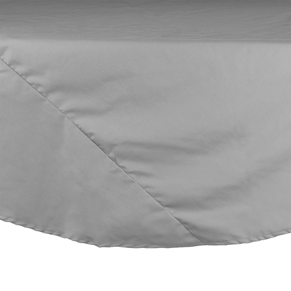 "83"" Gray Round Hemmed Polyspun Cloth Table Cover"