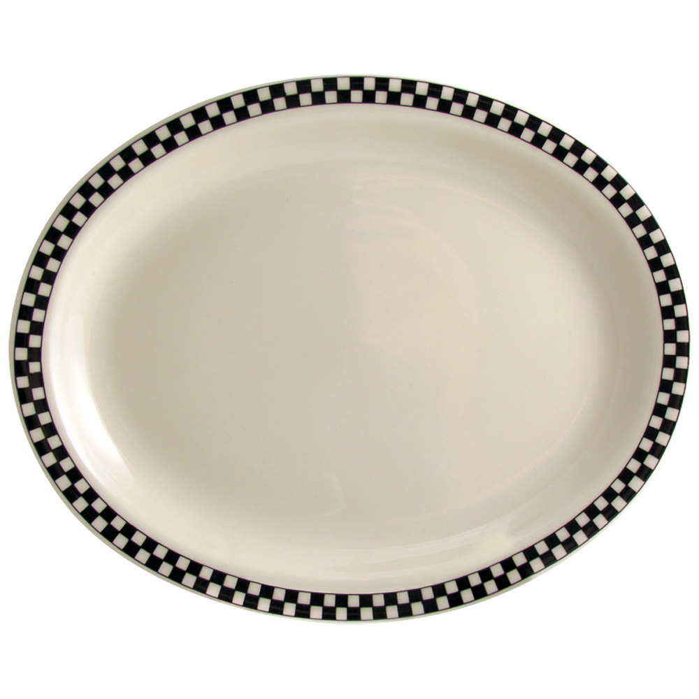 "Homer Laughlin Black Checkers 11 3/8"" x 9"" Oval Creamy White / Off White China Platter - 12/Case"