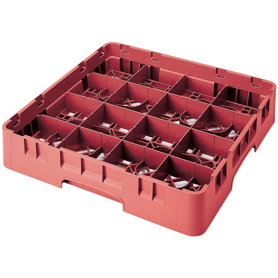 "Cambro 16S418163 Camrack 4 1/2"" High Red 16 Compartment Glass Rack"