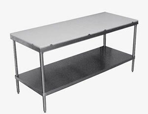 16 Gauge Advance Tabco ELAG-242 24 inch x 24 inch Stainless Steel Work Table with Galvanized Undershelf