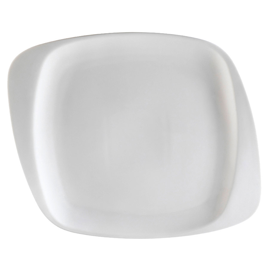 "CAC WH-9 White Pearl 9 1/2"" New Bone White Porcelain Square Plate - 24/Case"