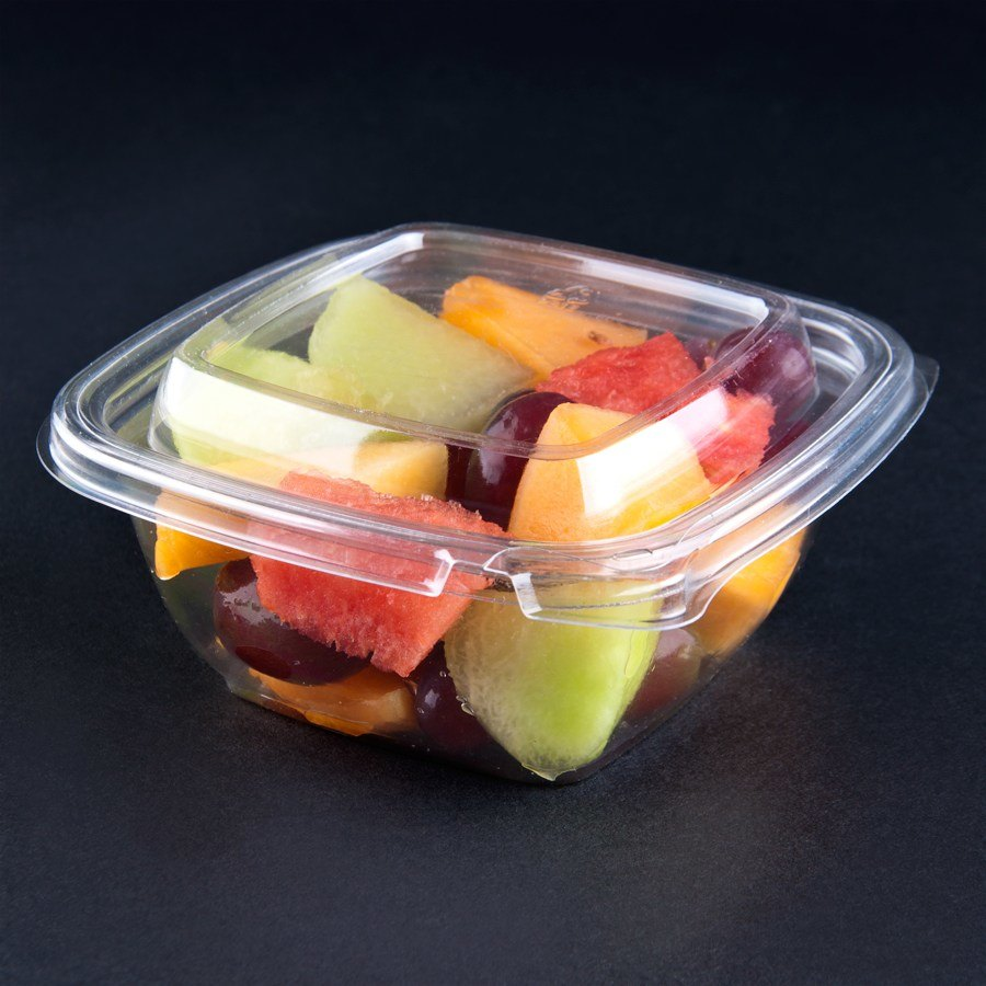 Sabert C15012TE250 12 oz. Clear Square Tamper Evident Bowl with Lid - 250 / Case