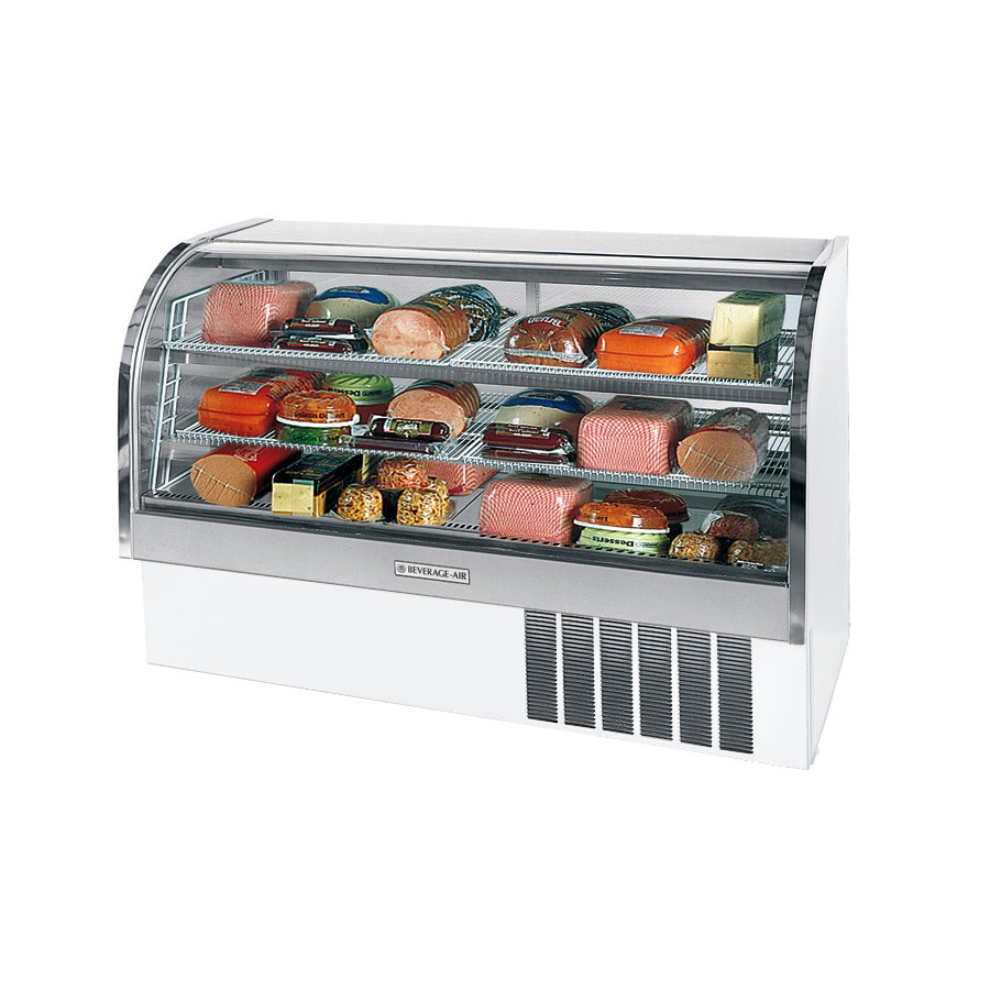Beverage Air (Bev Air) CDR6/1-W White Finish Curved Glass Refrigerated Bakery Display Case 73 inch - 27.6 Cu. Ft.