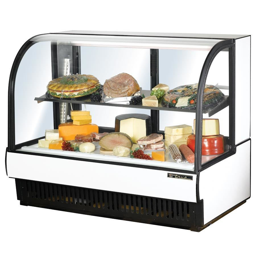 "True TCGR-59-CD 59"" White Curved Glass Refrigerated Deli Case - 32.5 Cu. Ft."