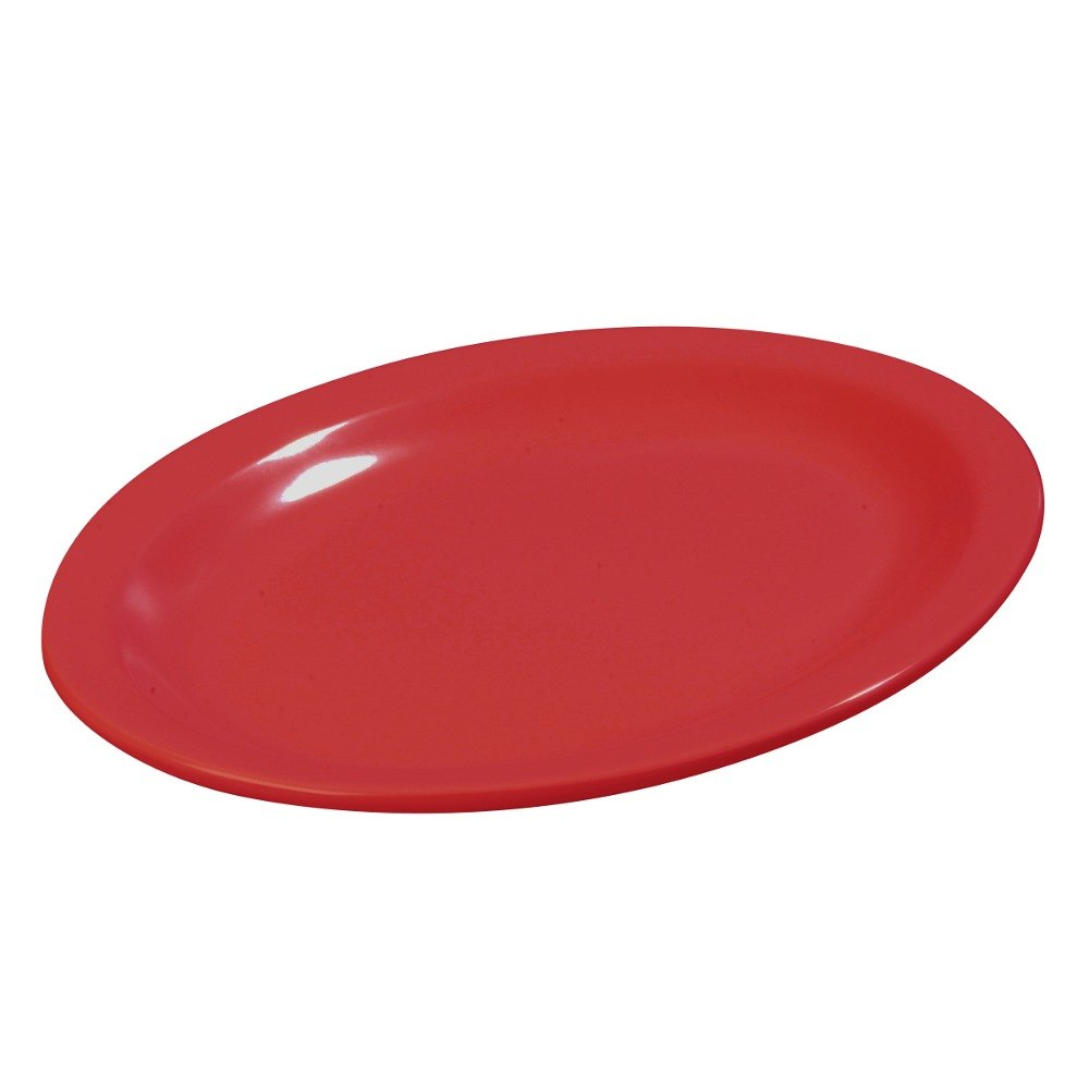 "Carlisle KL12705 Kingline 12"" x 9"" x 1 3/16"" Red Oval Platter - 12/Case"