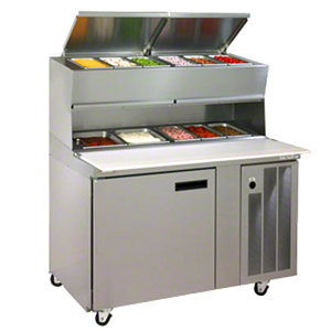 Delfield 18648PDL 48 inch Refrigerated Pizza Prep Table with Dual LiquiTec Raised Rails