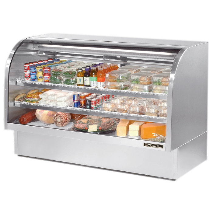 True TCGG-72-S 72 inch Stainless Steel Curved Glass Refrigerated Deli Case - 37.1 Cu. Ft.