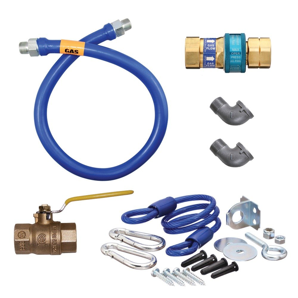 "Dormont 16125KIT48 Deluxe SnapFast® 48"" Gas Connector Kit with Two Elbows and Restraining Cable - 1 1/4"" Diameter"