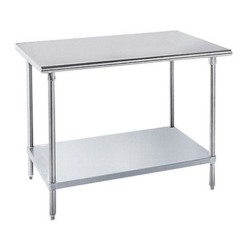 "Advance Tabco AG-307 30"" x 84"" 16 Gauge Stainless Steel Work Table with Galvanized Undershelf"