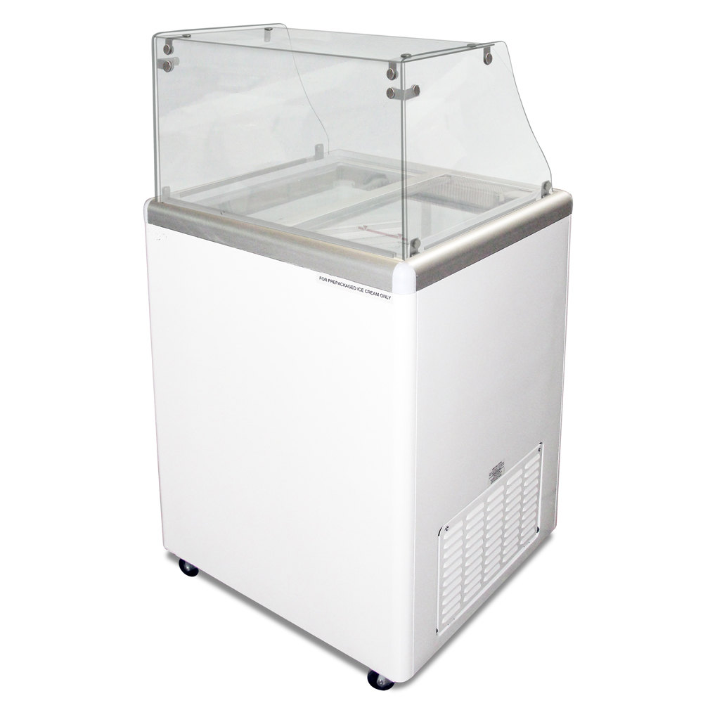 Excellence EDC-4 Ice Cream Freezer Dipping Cabinet with Straight-Sided Glass - 5 Cu. Ft.