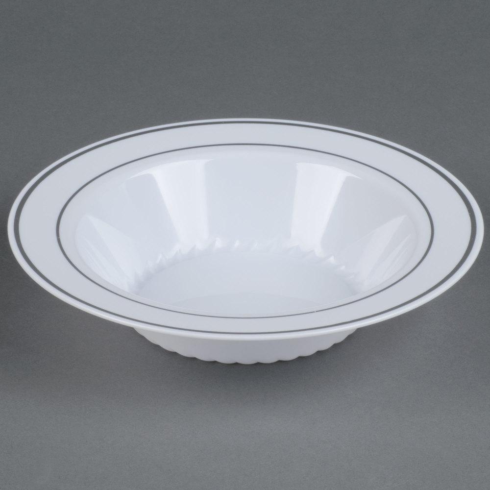 Fineline Silver Splendor 512-WH White 12 oz. Plastic Soup Bowl with ...