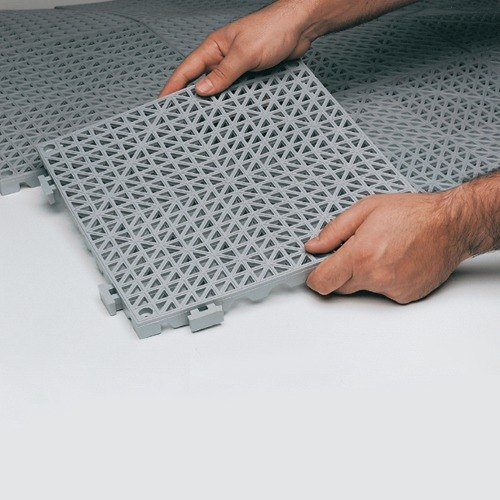 "Gray Vinyl Interlocking Drainage Floor Tile 12"" x 12"" - 3/4"" Thick"