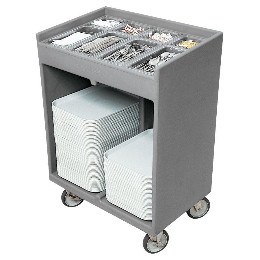 Cambro TC1418180 Light Gray Tray and Silverware Cart with Protective Vinyl Cover
