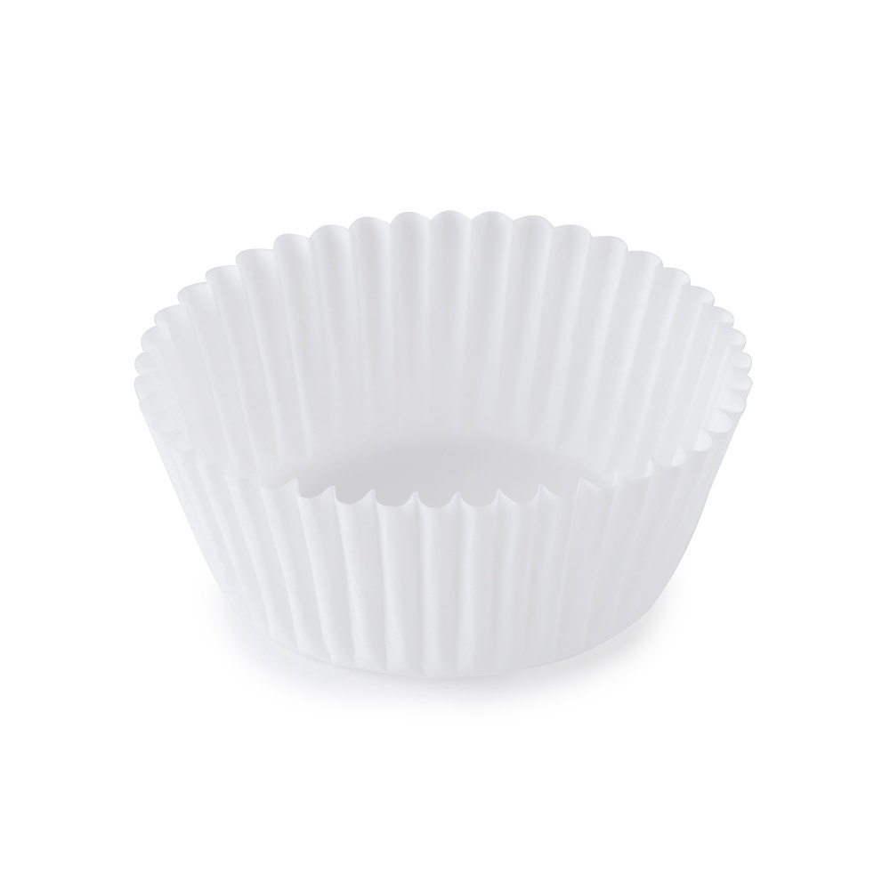 "Hoffmaster 610010 1 5/8"" x 15/16"" White Fluted Baking Cup 500 / Pack"