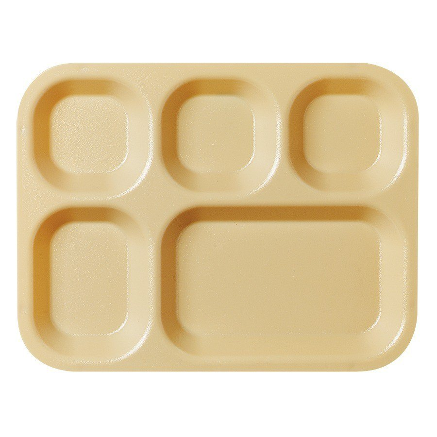 "Cambro 10145CW133 Camwear 10"" x 14 1/2"" Beige 5 Compartment Serving Tray - 24/Case"