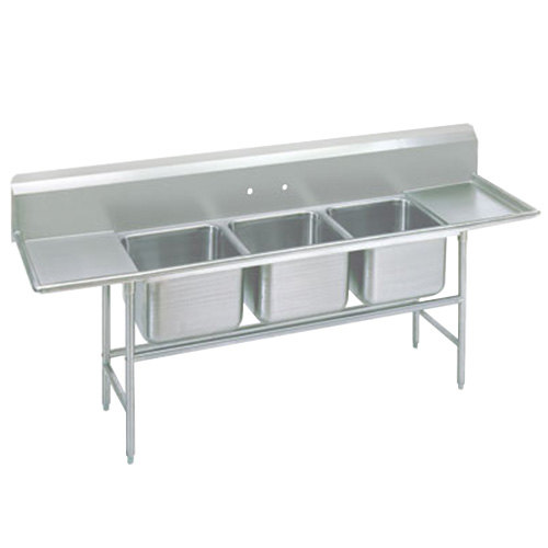 Advance Tabco 94-63-54-36RL Spec Line Three Compartment Pot Sink with Two Drainboards - 133""