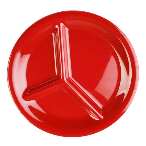 "10 1/4"" Pure Red 3-Compartment Melamine Plate 12 / Pack"
