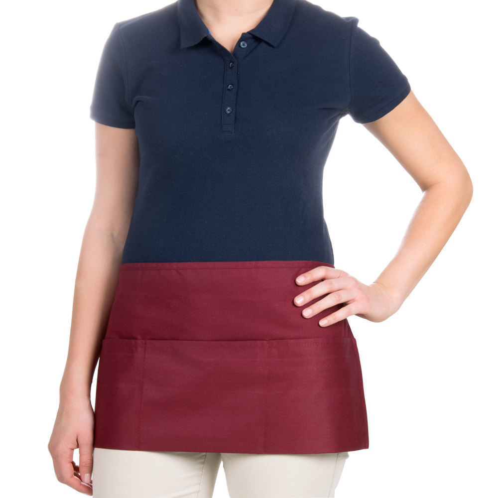 "Choice 12"" x 24"" Burgundy Front of the House Waist Apron"