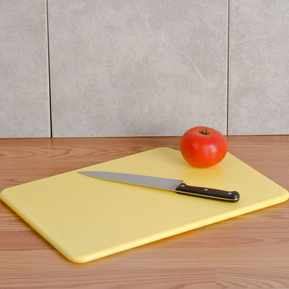 "San Jamar CB121812YL Yellow 12"" x 18"" x 1/2"" Cut-N-Carry Cutting Board with Hook"