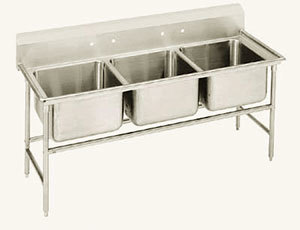 Advance Tabco T9-3-54 Three Compartment Stainless Steel Commercial Sink - 62 inch