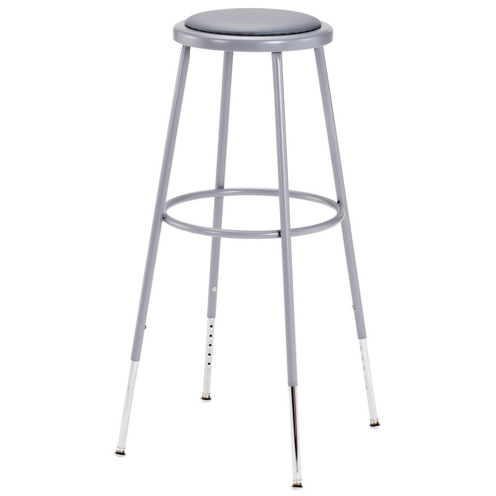 "National Public Seating 6430H 31"" - 39"" Gray Adjustable Round Padded Lab Stool"