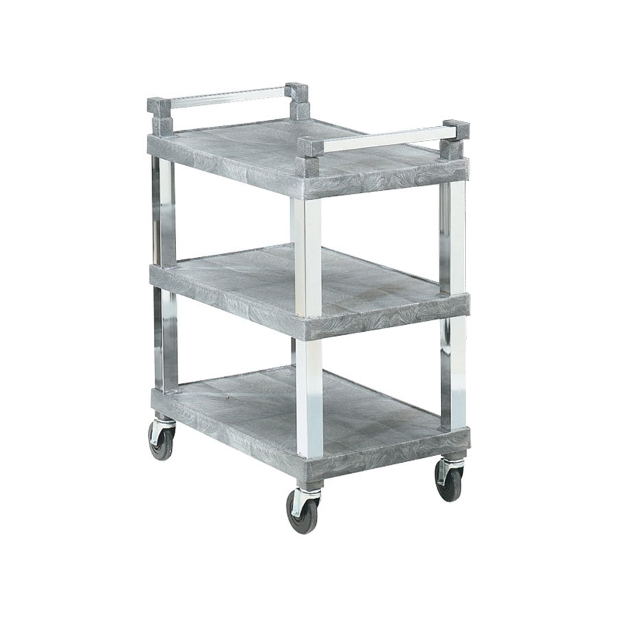 Vollrath 97102 3 Shelf Utility Cart with Chrome Uprights - 200 lb. Capacity