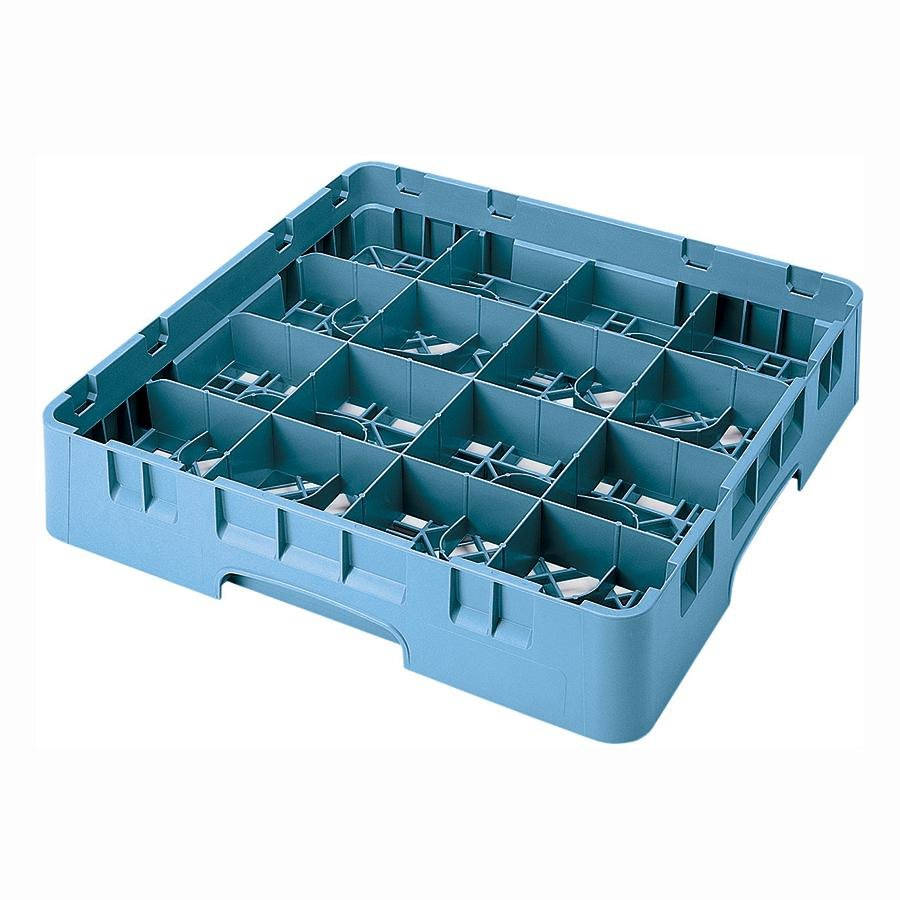 "Cambro 16S534414 Camrack 6 1/8"" High Teal 16 Compartment Glass Rack"