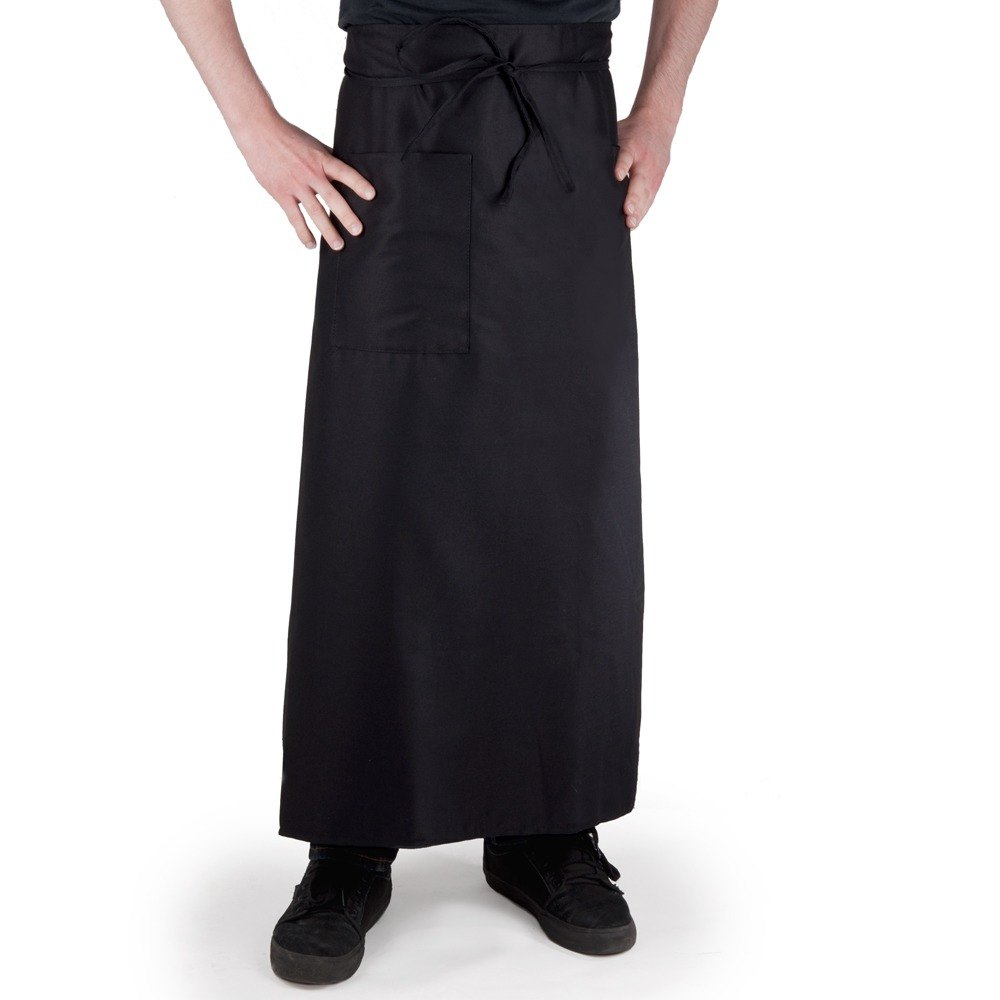 Choice 1 Pocket Black Bistro Apron - 34 inchL x 28 inchW