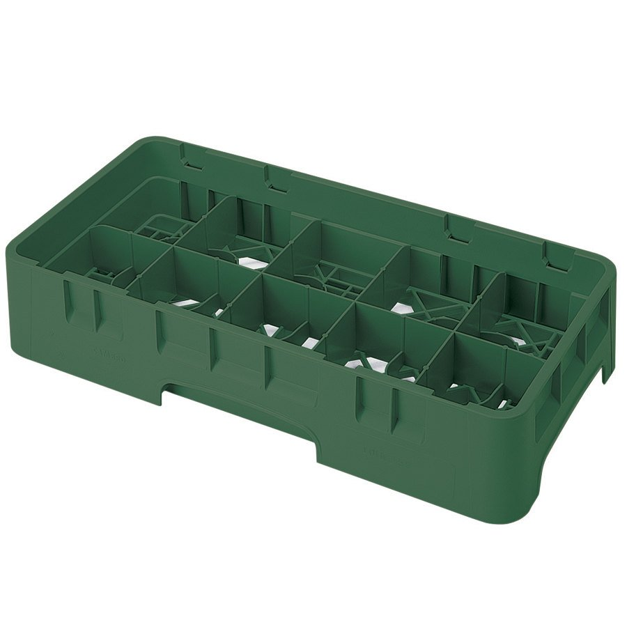 "Cambro 10HS318119 Sherwood Green Camrack 10 Compartment 3 5/8"" Half Size Glass Rack"