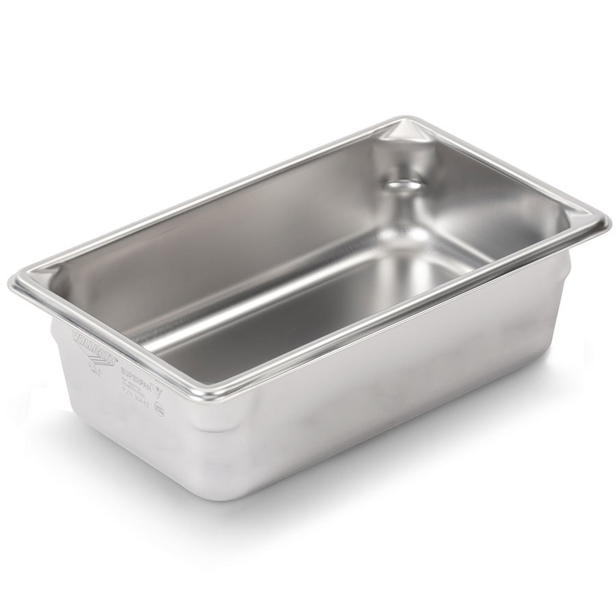 Vollrath Super Pan V 30442 1/4 Size Stainless Steel Anti-Jam Steam Table / Hotel Pan - 4 inch Deep