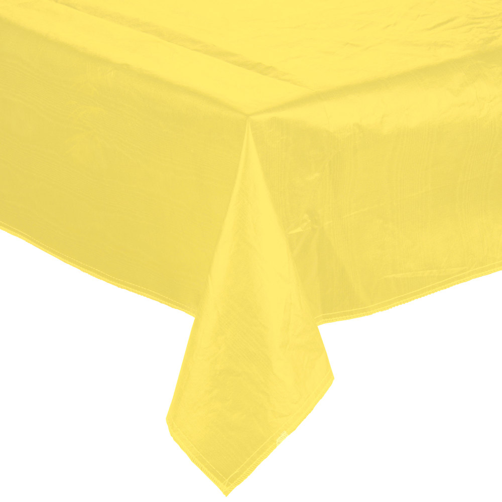 "52"" x 90"" Yellow Vinyl Table Cover with Flannel Back"