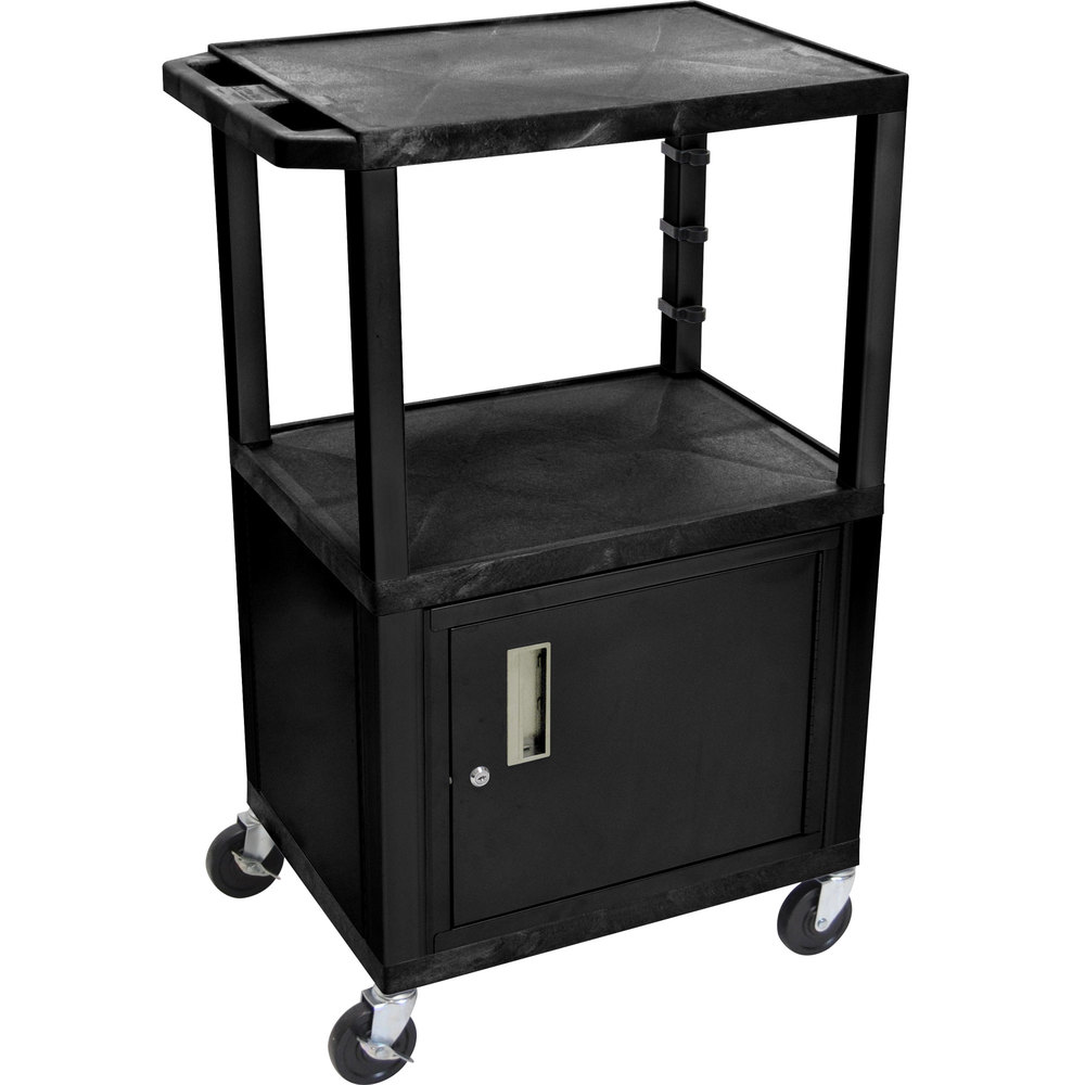 "Luxor / H. Wilson WT2642C2E Black Tuffy Two Shelf Adjustable Height A/V Cart with Locking Cabinet - 18"" x 24"""