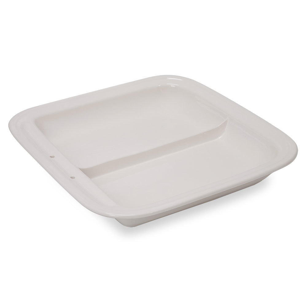 Vollrath 49136 3.7 Qt. Replacement Porcelain Divided Food Pan for Square Intrigue Induction Chafers