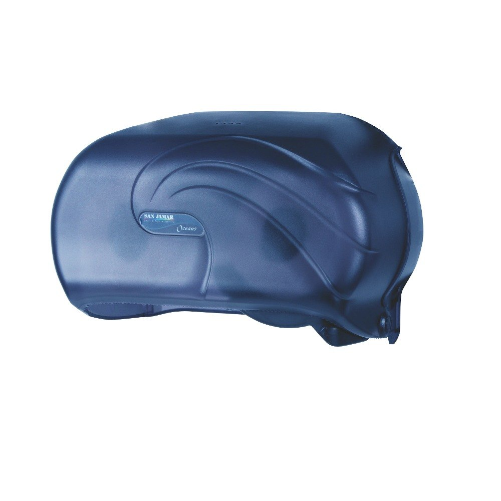 San Jamar R3690TBL Versatwin Ocean Double Roll Toilet Tissue Dispenser - Arctic Blue