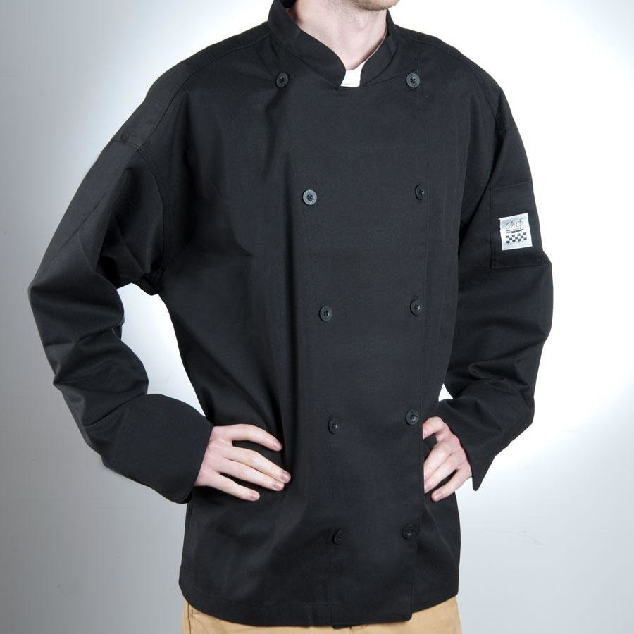 Chef Revival Gold J030BK-5X Chef-Tex Size 64 (5X) Black Customizable Poly-Cotton Traditional Chef Jacket